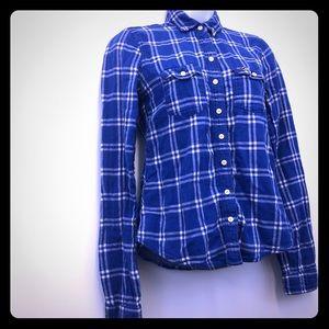 Hollister Women's Blue Soft Flannel Shirt Button